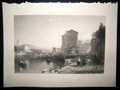 Italy 1850 Steel Engraving. The Port of Legorn, Livorno Antique Print | Albion Prints